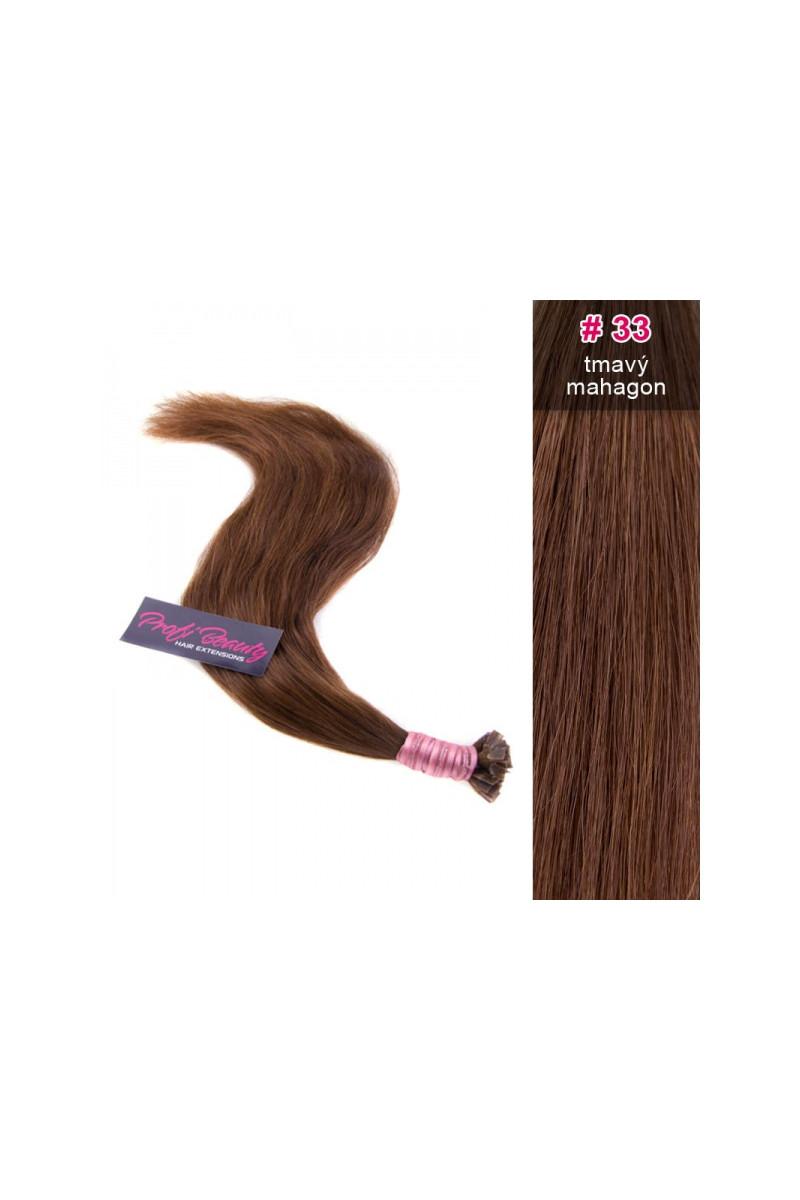 Středoevropské vlasy - barvené - tmavý mahagon - 33
