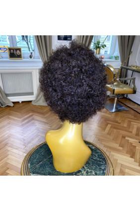 Paruka z pravých vlasů - afro - 10-15 cm, tmavě hnědá 2