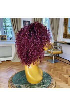 Paruka z pravých vlasů - kudrnatá- 20-25 cm, tmavý mahagon 33