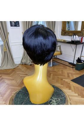 Paruka z pravých vlasů - pixie - 5-10 cm, přírodně černá 1B
