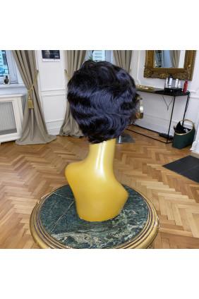 Paruka z pravých vlasů - pokládaná vlna - 10-15 cm, přírodně černá 1B