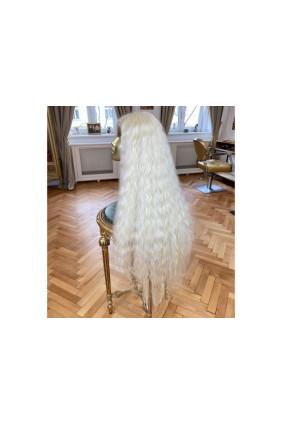 Syntetická paruka polopoutkovaná vlnitá Ice - 100-105 cm, nejsvětlejší blond 613