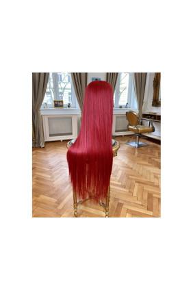 Syntetická paruka polopoutkovaná rovná sestříhaná Candyshop - 95-100 cm, Red