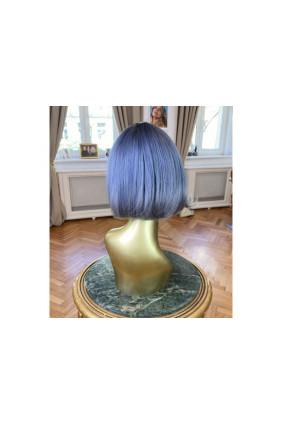 Syntetická paruka s ofinou rovná Fashion Bob - 25-30 cm, ombre Blue/Silver
